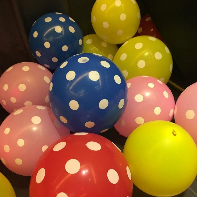 20pcs/Lot 12 Inch Latex Polka Dot Balloons Pink Birthday Balloons Decorations We