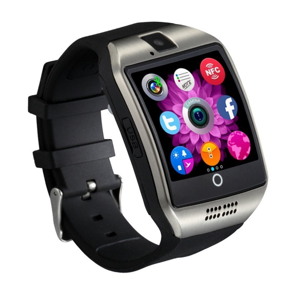 Q18 Smart Watch Smartwatch Bluetooth Sweatproof Phone with Camera TF/SIM Card Slot for Android Smartphones