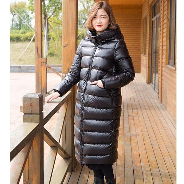 Novo Para Baixo Parka 2016 Mulheres Jaquetas E Casacos de Inverno Parka Pato Branco Para Baixo Roupas Grossas Quentes das Mulheres X-longo