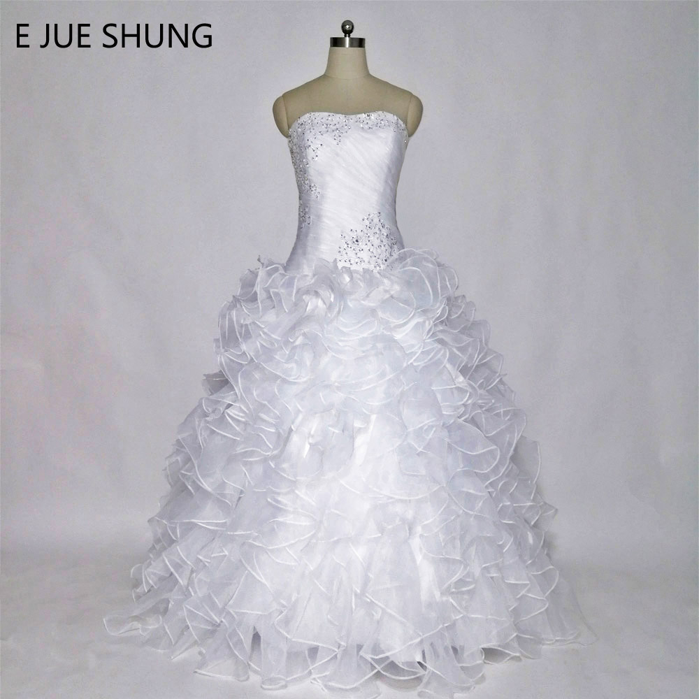 E JUE SHUNG White Organza Tiered Wedding Dresses Beaded Lace Up Back Wedding Gowns robe de