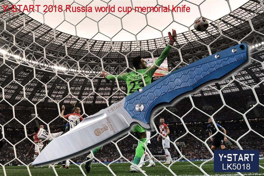 YSTART 2018 Russia world cup memorial knife LK5018 folding knives VG10 blade ceramic ball bearing washer TC4 handle outdoor tool