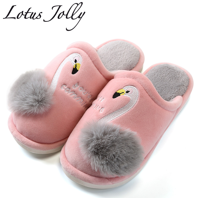 Women Slippers Cartoon Flamingo Embroidery Winter Warm Fur House Slippers Indoor Outdoor Plush Ladies Couple Zapatillas Mujer 2018 winter women slippers lovely cotton dog cat house slippers ladies plush fur warm outdoor indoor slippers zapatillas mujer