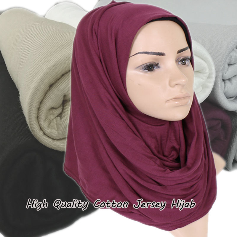 High quality Ladies cotton heavy jersey   scarf   shawls muslim hijab plain   wraps   headband long   scarves  /  scarf   180*85cm 10pcs/lot