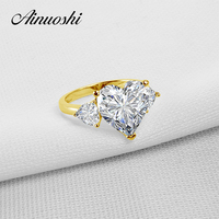AINUOSHI 10k Solid Yellow Gold TC Collection Rings 5 ct Heart Shape CZ 3 Stones Young Lady Engagement Wedding Band Jewelry Ring