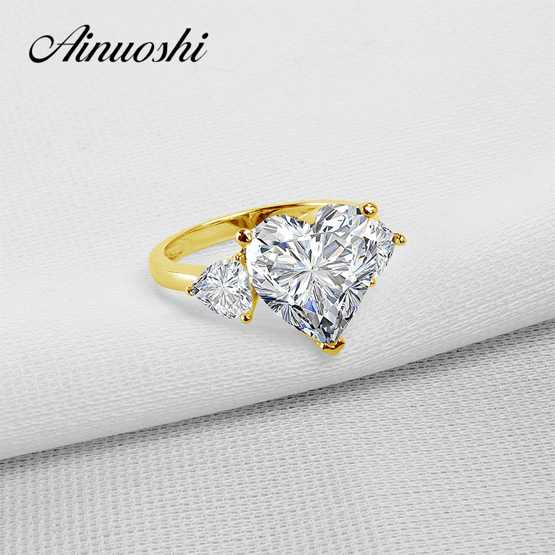 AINUOSHI 14K Solid Yellow Gold TC Collection Rings 5 ct Heart Shape CZ 3 Stones Young Lady Engagement Ring Wedding Band Jewelry