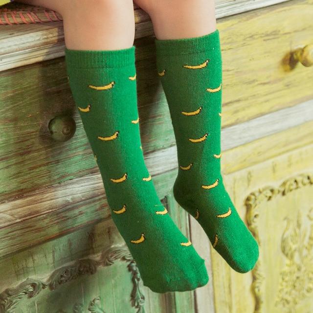 c7355aa8aabf 2018 Baby Knee High Socks Leg Warmers School Cotton Green Cartoon Socks  Banana Kids NewBorn Girls