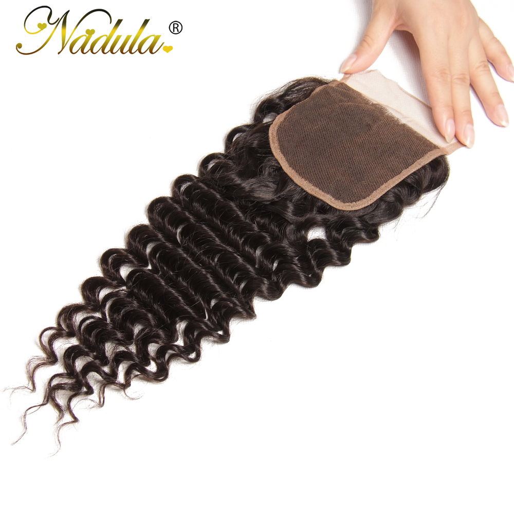 Nadula Hair  Deep Wave Bundles With Closure 4*4 Free Part Closure With   s 3 Bundles With Closure 5