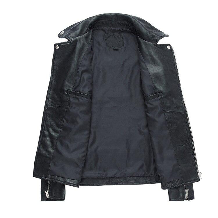 Und Mantel M Stil black amp; Biker Weise Größe Männer Black Art Leder D922 4xl Echte Moto Sheepskin Heiße Cow Koreanische Jacken Leather gqw5Ffqn