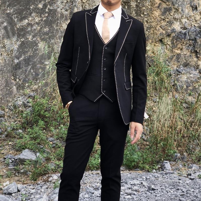 Contrast Black White 2019 Costume Homme Mariage Smoking Homme Mens Wedding Suits British Elegant Men Suit Desingers Anzug Herren