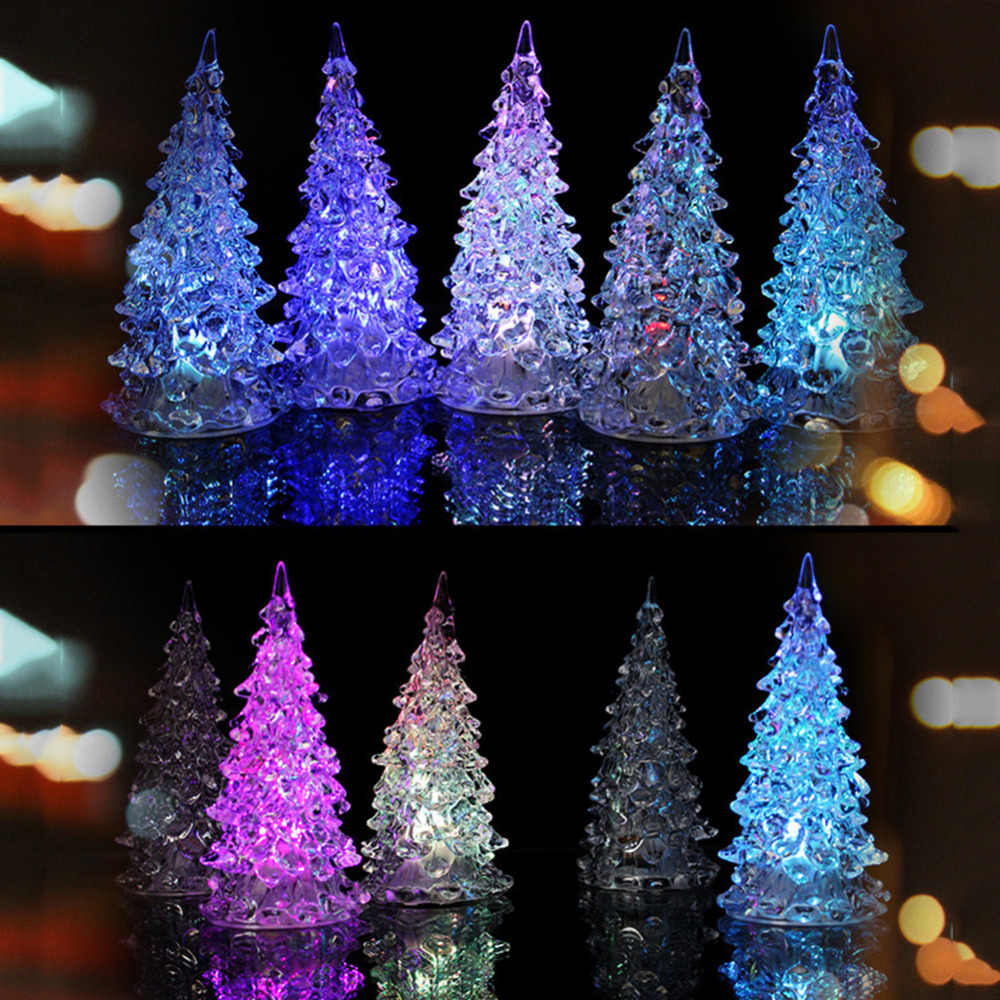 new 7 colors mini colorful christmas light tree crystal. Black Bedroom Furniture Sets. Home Design Ideas