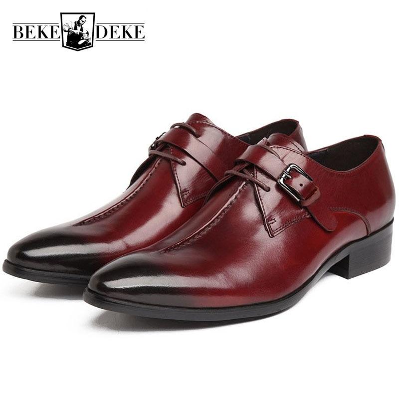 2019 Up Homens Casamento Wine Zapatos Noivo Partido Formal De Genuíno Vestido Sapatos Fivela Couro New black Masculinos Red Moda Calçado Dos Sapatas Lace Prom w7ZCXq