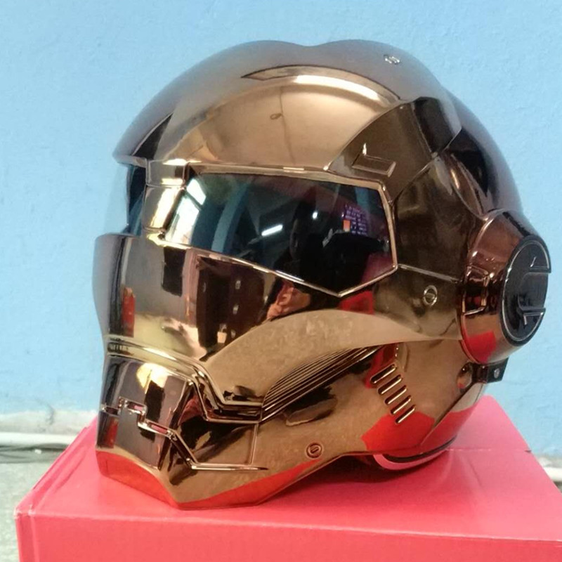 Iron Man Helmet Motorcycle Gold Color Half Helmet Open Face Casque