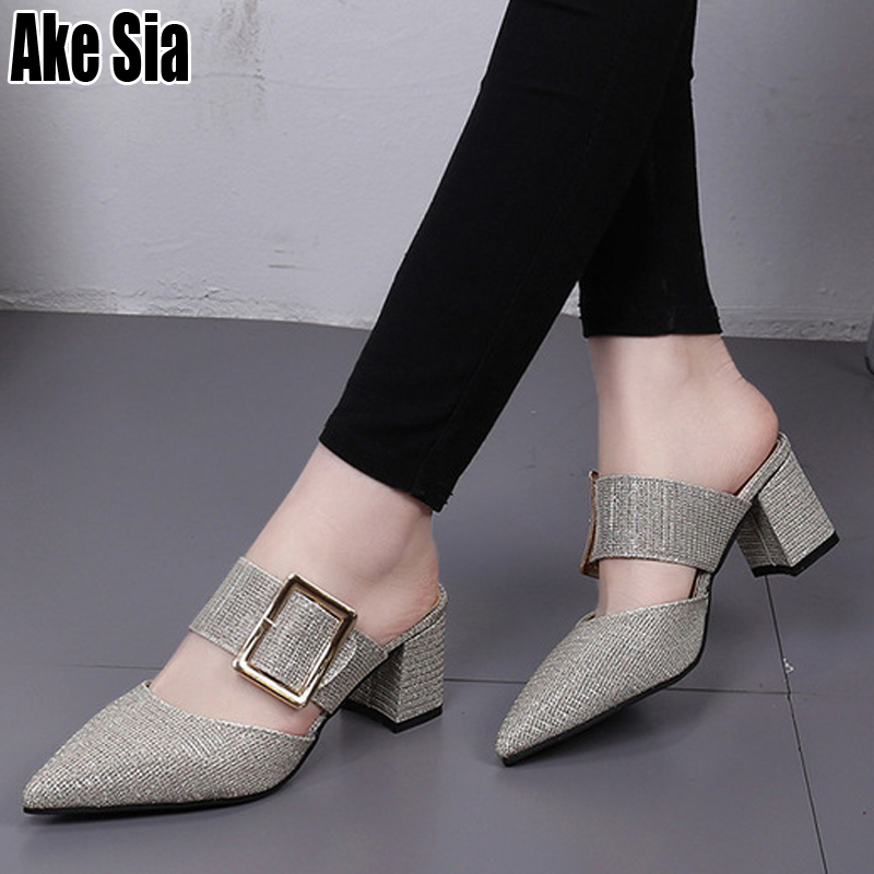 TOP Graceful Women Female Fashion Casual Belt Buckle Pointed Toe Half Slides Sandals High Chunky Heels Slippers Mules Shoes A455TOP Graceful Women Female Fashion Casual Belt Buckle Pointed Toe Half Slides Sandals High Chunky Heels Slippers Mules Shoes A455