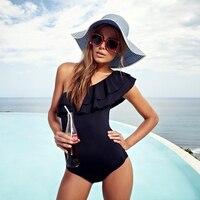 2017 Summer Newset Lace One Shoulder Bikinis Push Up Sexy One Piece Swimwear Women Off Shoulder