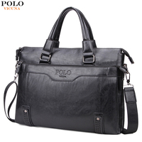 VICUNA POLO Fashion Vintage Bottom Hollow Mens Handbag sacoche homme Large Capacity PU Leather Man Shoulder Bags Male Briefcase