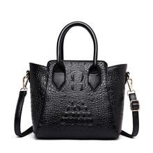 2019 New Crocodile Pattern Women Genuine Leather Handbags Vintage Alligator Crossbody Bags for Ladies Shoulder Tote