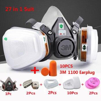 27 In 1 3 M 6200 Yarım Yüz Püskürtme Boya Gaz Maskesi Sanayi Iş Güvenliği Toz Geçirmez Maske 3 M Gürültü Önleme Kulak Tıkacı