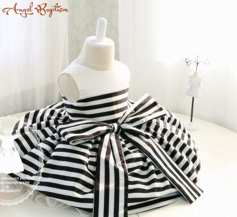 a3c47e061f2d Newborn Girl Dress with Black and White Stripes Baby Tutu 1st ...
