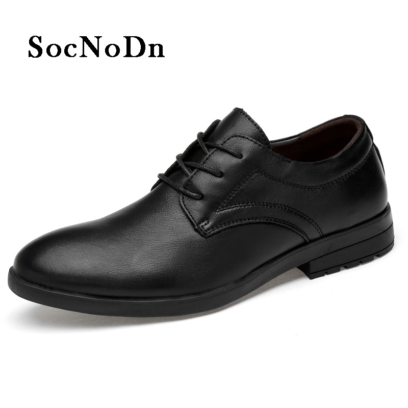 SocNoDn Men Oxford Shoes Genuine Leather 2018 Spring Autumn Black Dress Shoes Man Social Shoe Formal Footwear Elegant