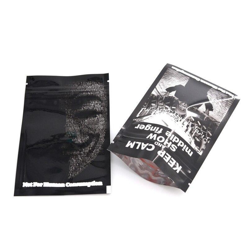 Mix 5 Printed Zip lock Pouches Aluminum Mylar Foil Bag Moisture Proof 100 PCS