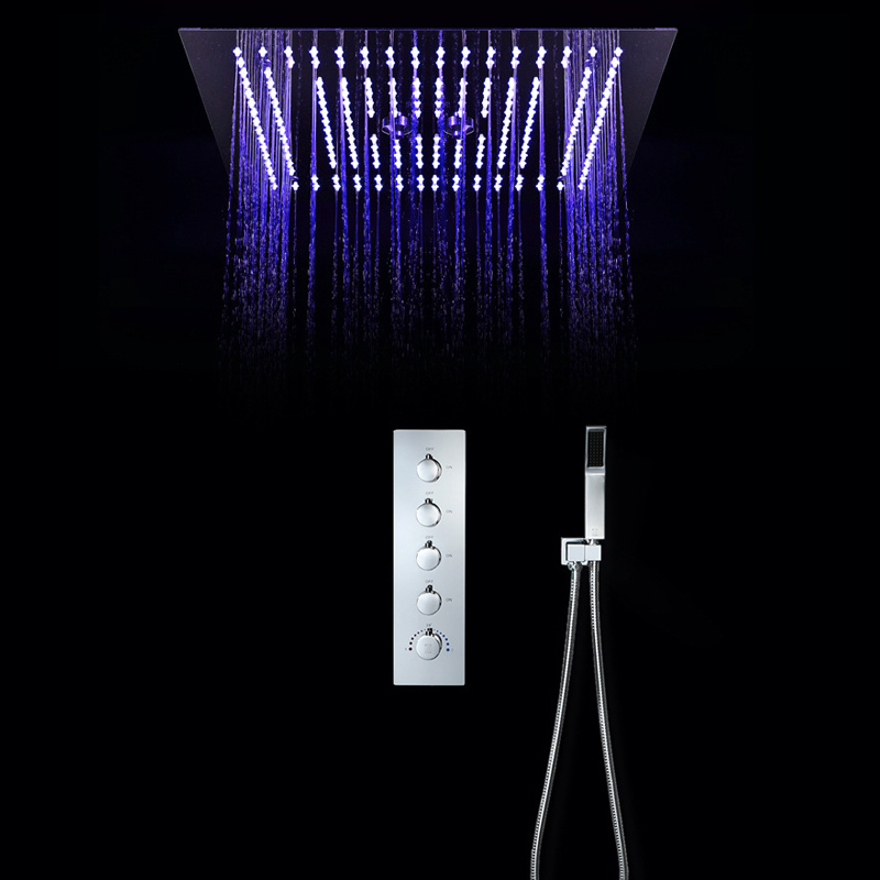 LED Ceiling Shower Set 16 Inch Mist Rainfall Bathroom Shower Head 5 Functions Shower Diverter Controller Thermostatic Faucets