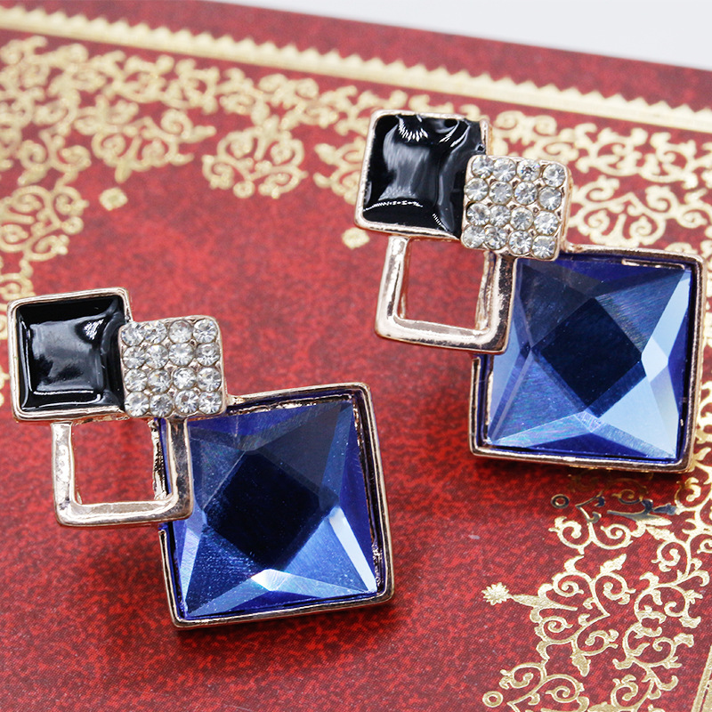 12 Pairs/Lot Blue Cubic Zirconia Stone Crystal Earrings Geometric Champagne Light Brown Color Big Eardrop Earring Statement Gift