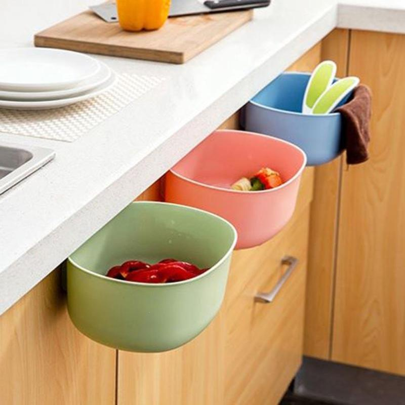 Kitchen Cupboard Door Hanging Garbage Cans Plastic Storage Box Rubbish Organizer Container Debris Trash Bins Sponge Holder
