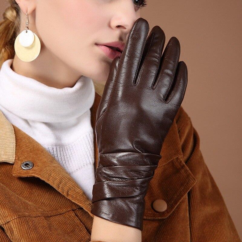 Image 2 - Женские перчатки из натуральной кожи, черные перчатки из овчины с пятью пальцами, зимние толстые теплые модные митенки, новинка, BW015Женские перчатки    АлиЭкспресс