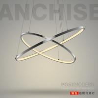 Customized Minimalism Aluminium Lustre Round Led Pendant Light Diy Circle Luminaire Dimmable Led Suspension Lamp