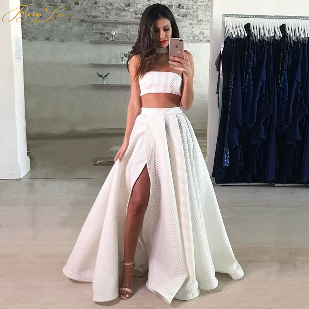 BeryLove Fashion White Two Pieces   Prom     Dresses   2019 Floor Length Halter Neck Sexy Open Shoulder Wrap Skirt Slit   Prom   Gowns