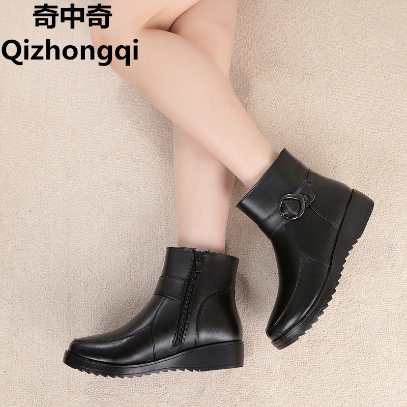 2017 winter new natural genuine leather women snow boots with plus large size 35-43 # thick wool warm flat with mother boots цены онлайн