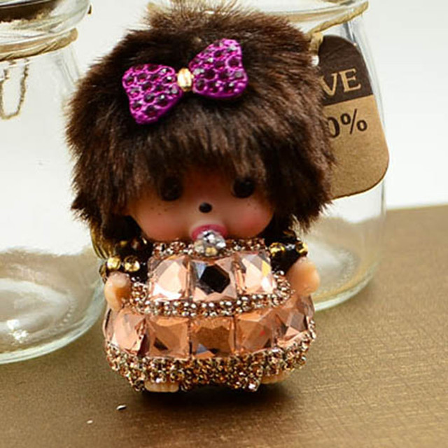 Shiny Cute Rhinestone Mini Monchhichi  Keychain and Bag Charm