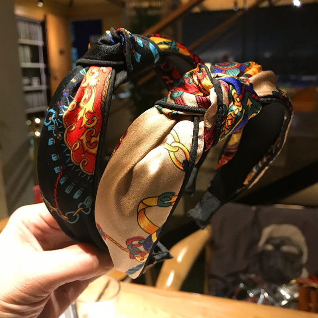 2018 New Fashion Wide Elastic Hair Band Sweet Print Flower Knot Hair Hoop Headband for Women Girls Hair Accessories Headdress