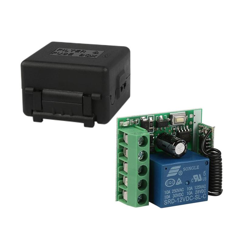 LEMAIC 433Mhz Wireless Remote Control Switch DC 12V 10A 1 Channel Relay Receiver Module and 2pcs 433Mhz RF Remote Transmitter