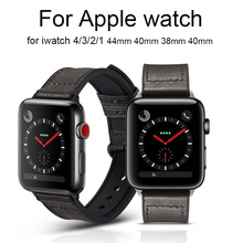 Genuine Leather Watch Band For Apple Watch Series 4 3 2 1 Bracelet Strap For iwatch 44mm 40mm 38mm 42mm loop Wrist Watchband цена