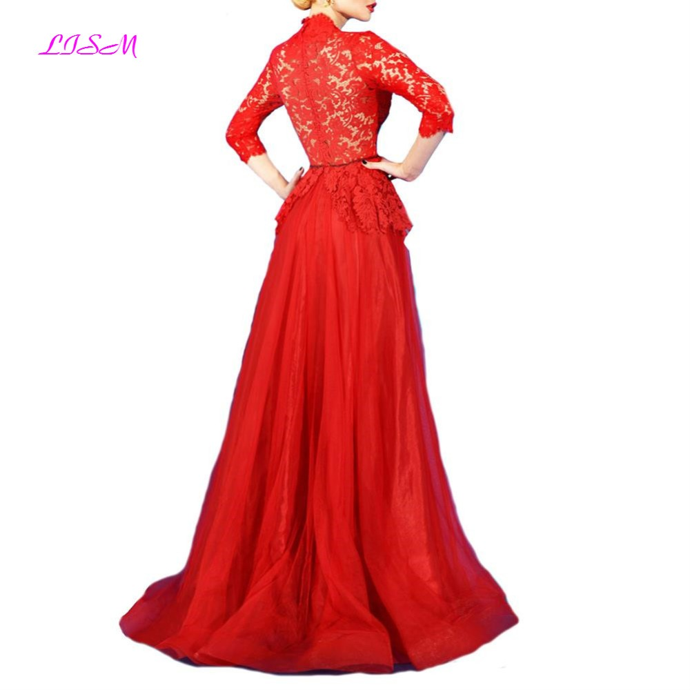Vintage Red Lace Evening Dresses 3 4 Sleeves Appliques Empire Long Prom Dress Sexy Women Formal Gowns Robe De Soiree Longue 2019 in Evening Dresses from Weddings Events