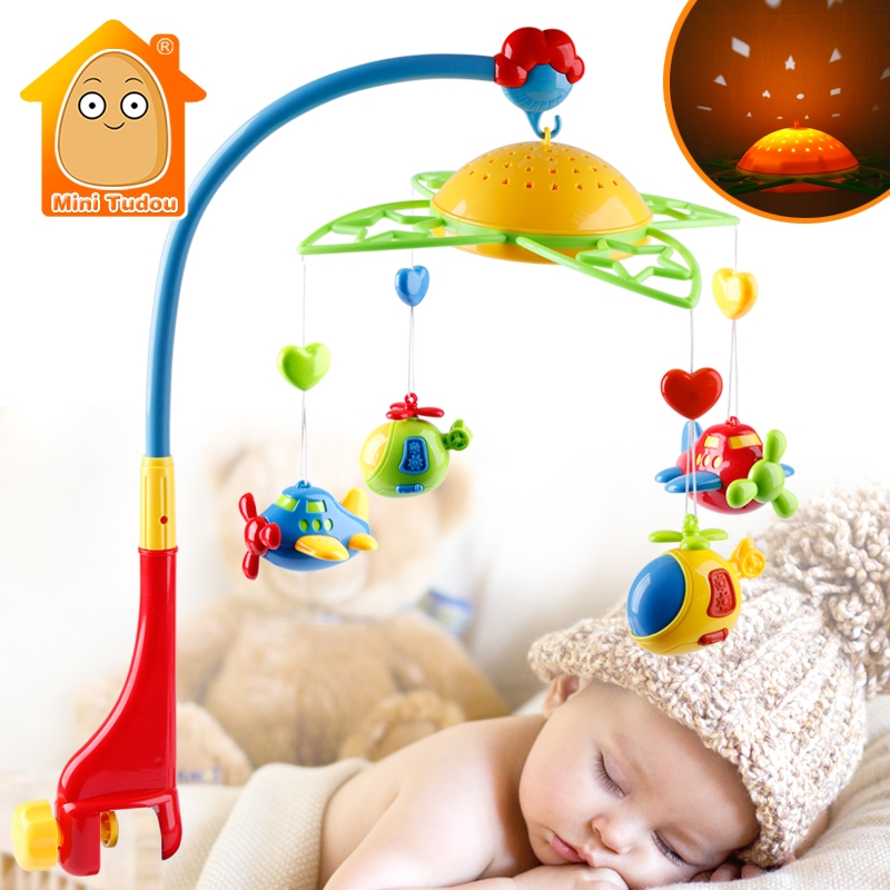 Baby Rattles Mobiles Toy Holder Rotating Crib Bed Bell With Music Projection For 0-12 Months Newborn Infant