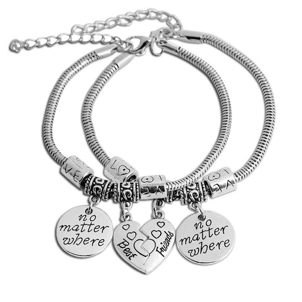 New Fashion 2pcs Charm Best Friends Bracelets Half Broken
