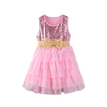 New Sequins Baby Girls Summer Dress Sleeveless Layered Bow Princess Kids Formal Pageant Party Dresses Sundress children layered dresses for girls sundress lemon print girls dresses summer sleeveless kids princess party dress 4 12y vestidos