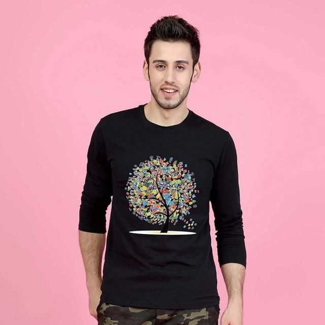 Haute qualité automne hiver T Shirt à manches longues top T-shirts T-Shirts Simple dessin animé coloré arbre grande taille 5 XXXXXL mâle