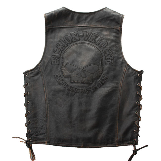 PASSION VELOCITY MOTORCYCLES SKULL GENUINE COW LEATHER VEST