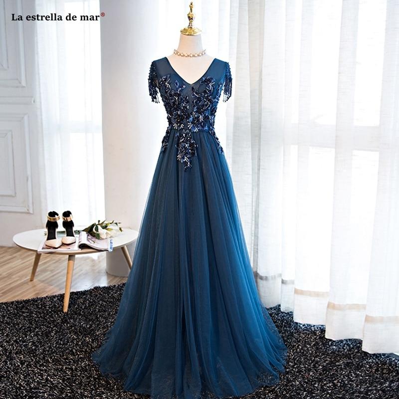 Vestido madrinha longo2019 new tulle applique crystal tassel short sleeve navy blue   bridesmaid     dress   plus size abiti damigelle