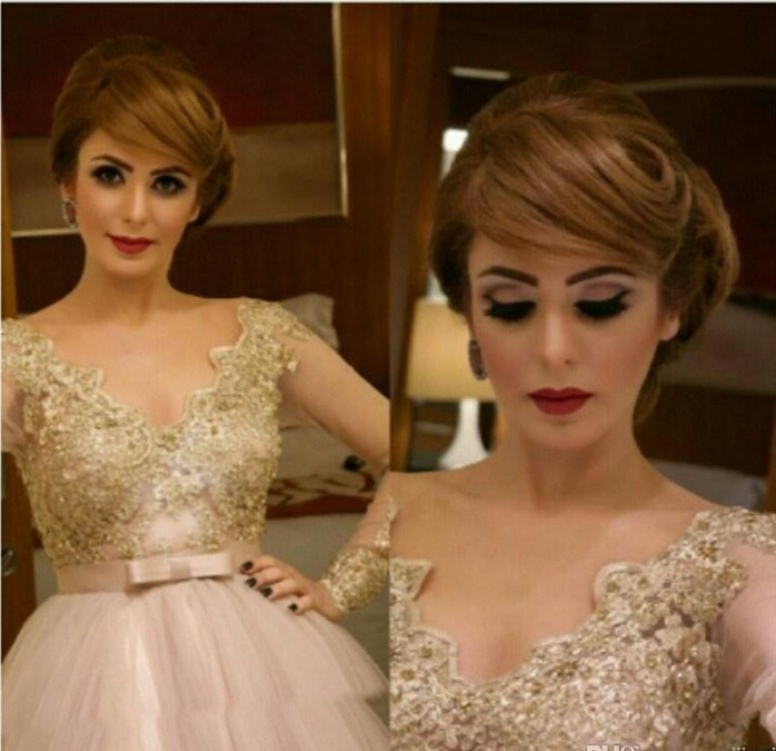 4.3 Hot ! 2015 Champagne A line Applique Sequined Celebrity Dress Arabic Evening Dress Long Sleeve V neck Teal Length Prom Dress Party Gown 184