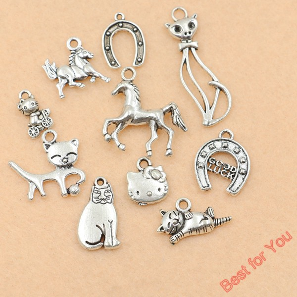 10pcs mixed tibetan silver plated animals horse good luck cat charm 10pcs mixed tibetan silver plated animals horse good luck cat charm pendants jewelry making diy handmade crafts in charms from jewelry accessories on mozeypictures Images