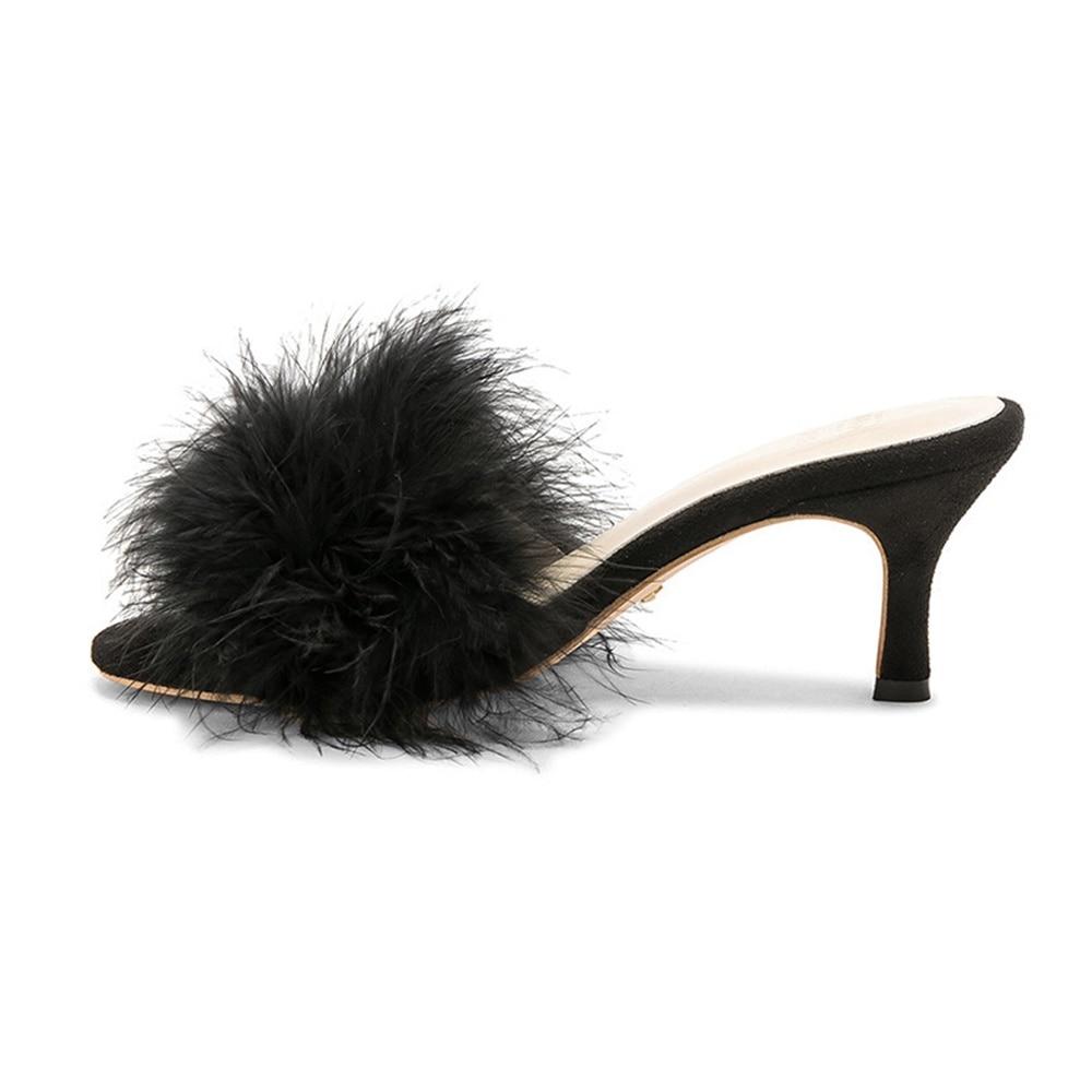 Buyuanqingyun New Fashion Summer/Autumn Fluffy Fur Women Mules Round Open Toe Sandals 6.5 Cm Stiletto Heel Slippers