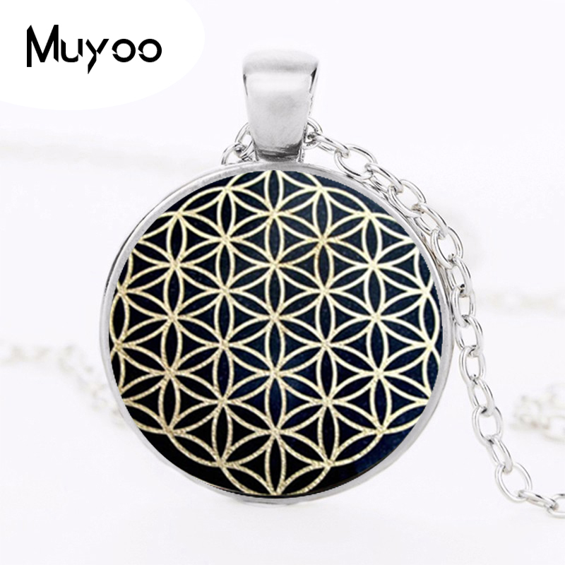 Flower of Life Pendant Necklace dingyi 2017 New Fashion Round Glass Necklace Flower of Life Vintage