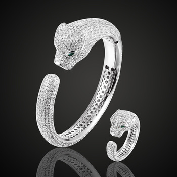 Zlxgirl brand leopard gold bangle and ring jewelry sets brand cubic Zircon Love Bangle fashion women bridal bangle Jewelry sets фото