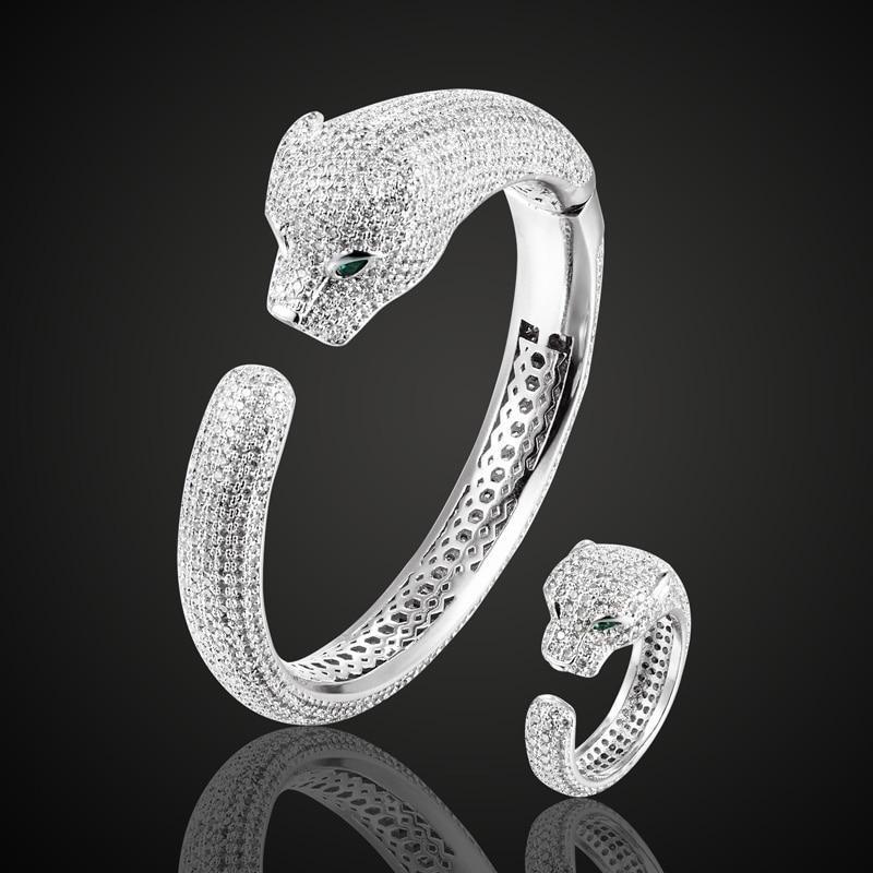 Zlxgirl marque léopard or bracelet et bague ensembles de bijoux marque cubique Zircon amour bracelet de mode femmes mariée bracelet ensembles de bijoux