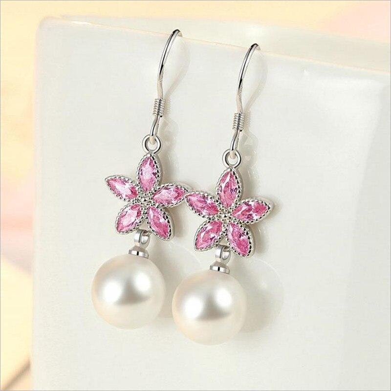 Everoyal New Arrival Women 925 Sterling Silver Earrings For Girls Jewelry Fashion Crystal Pink Flower Drop Earring Female Bijou