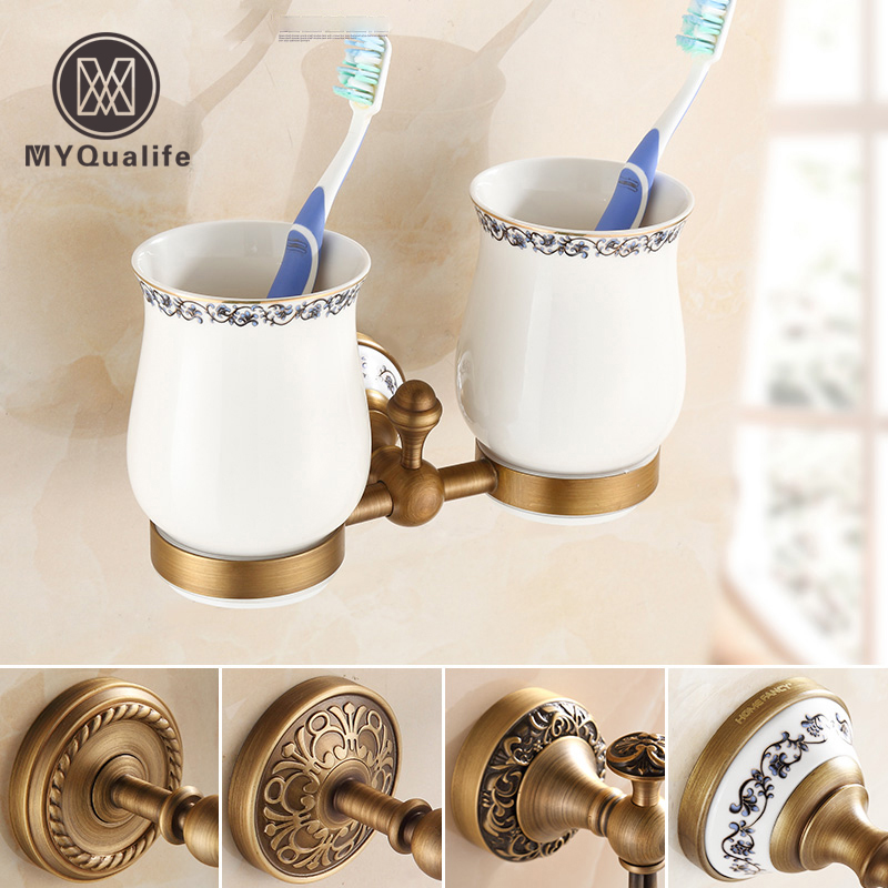 Modern European Style Antique Brass Toothbrush Tumbler∪ Holder Wall Mount Home Decoration Wall Mounted new modern washroom toothbrush holder luxury european style tumbler